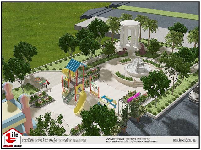 Khuôn viên sân chơi tại dự án Ruby City CT3