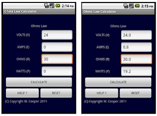 Ohm's law calculator Android.