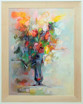 Kwiaty- obraz olejny, jasne barwy
