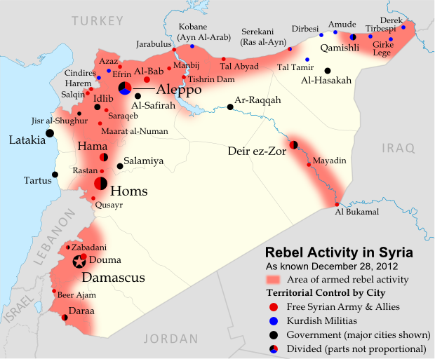 Syria uprising map december 2012 8 political for Syria war template