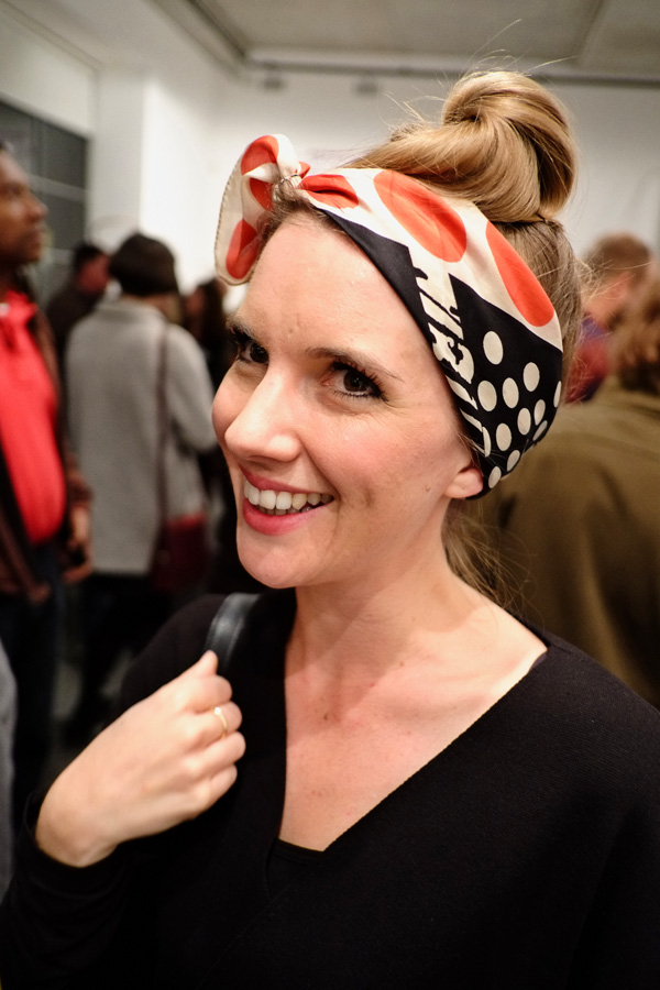 Red and black and white spots headscarf,Street Fashion Sydney - Photographed by Kent Johnson.