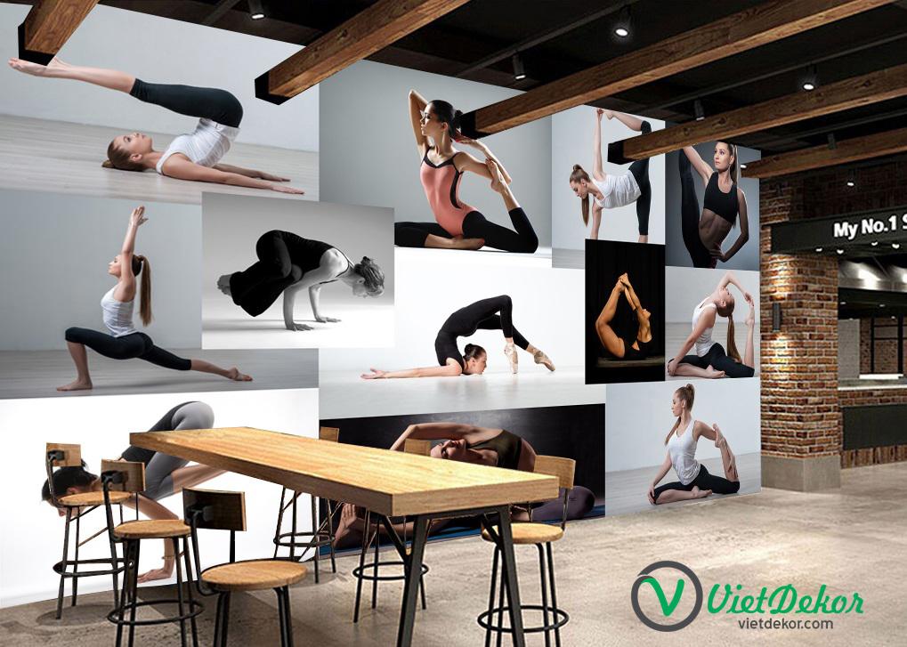 Tranh 3d dán tường phòng tập gym