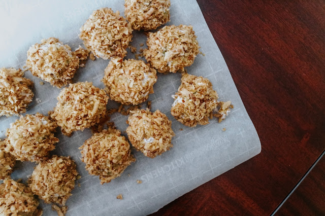 Crispy, crunchy fried green been casserole balls served for the holidays