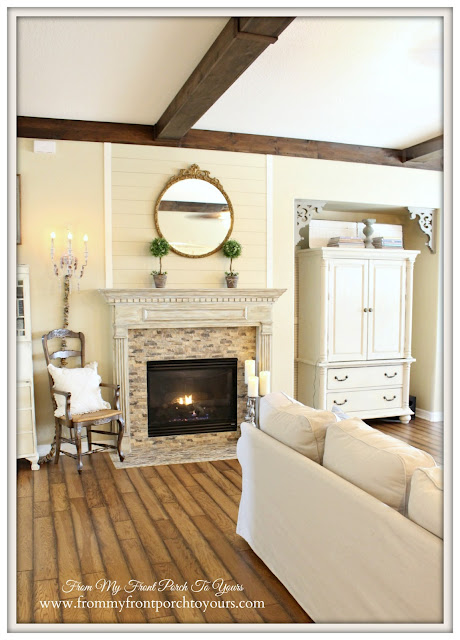 Wood Beams-Shiplap Fireplace-Farmhouse Living Room- From My Front Porch To Yours