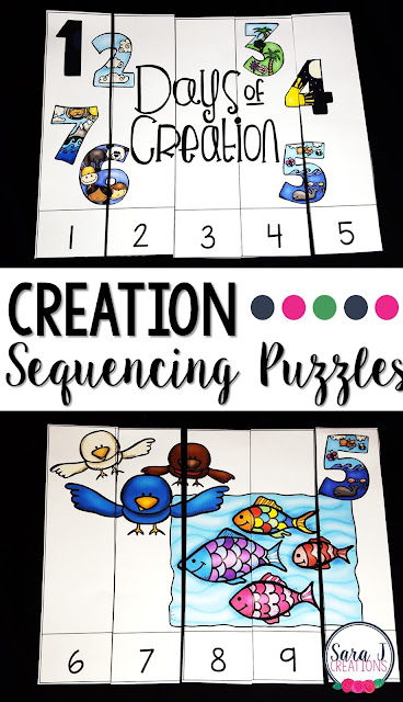 Creation sequencing puzzles are perfect for reviewing the creation story with little ones, practicing puzzle skills and sequencing numbers.  Grab this freebie now!