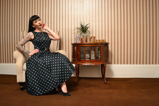 Black & Teal Polka Dot Hepburn Dress Lady V London Review