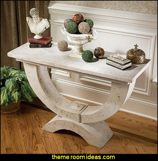 The Moderno Arch of Stone Console  mythology theme bedrooms - greek theme room - roman theme rooms - angelic heavenly realm theme decorating ideas - Greek Mythology Decorations -  angel wall lights - angel wings decor - angel theme bedroom ideas - greek mythology decorating ideas - Ancient Greek Corinthian Column - Spartan Warrior Gladiators - Greek gods - Angel themed baby room - angel decor - cloud murals - heaven murals - angel murals - ethereal heavenly style - cupid theme bedrooms - cherub throw pillows - greek roman decor