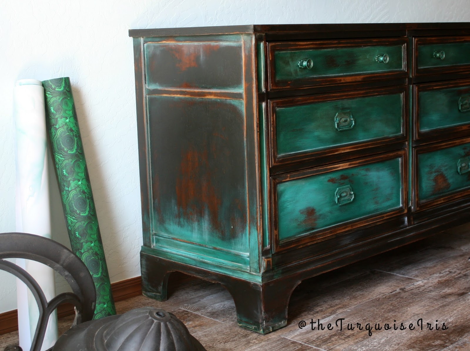 The Turquoise Iris Furniture Art A Gorgeous Teal Green Dresser Furniture Makeover 5 Of My