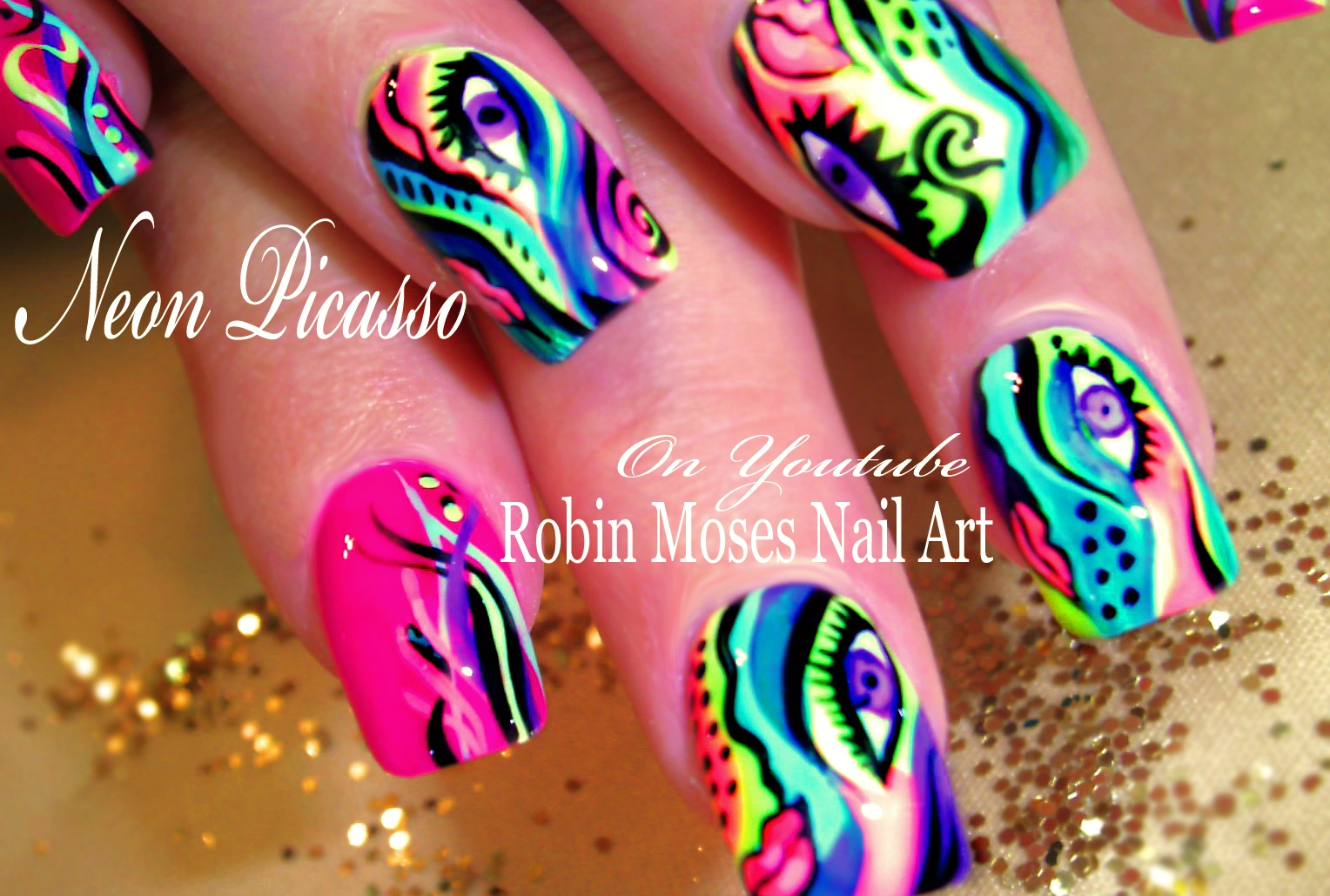 Nail Art By Robin Moses Picasso Nails 2018 Neon Abstract Picasso