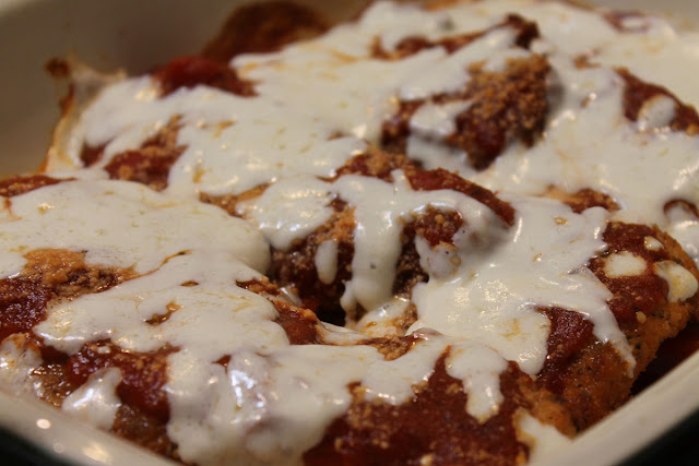 Chicken Parmesan in the baking dish.