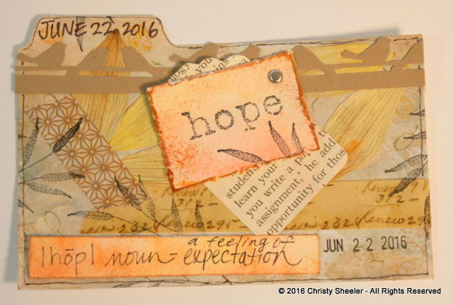ICAD June 22, yellow and kraft brown with accents of orange.  Hope, noun, a feeling of expectation.