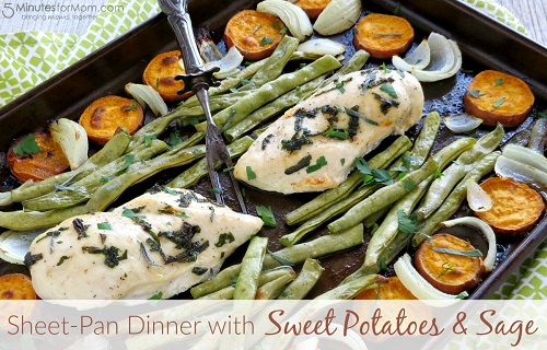 Chicken Breast with Sage, Sweet Potatoes, and Green Beans