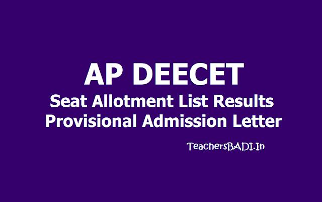 AP DEECET Seat Allotment list Results: Provisional Admission Letter download 2019