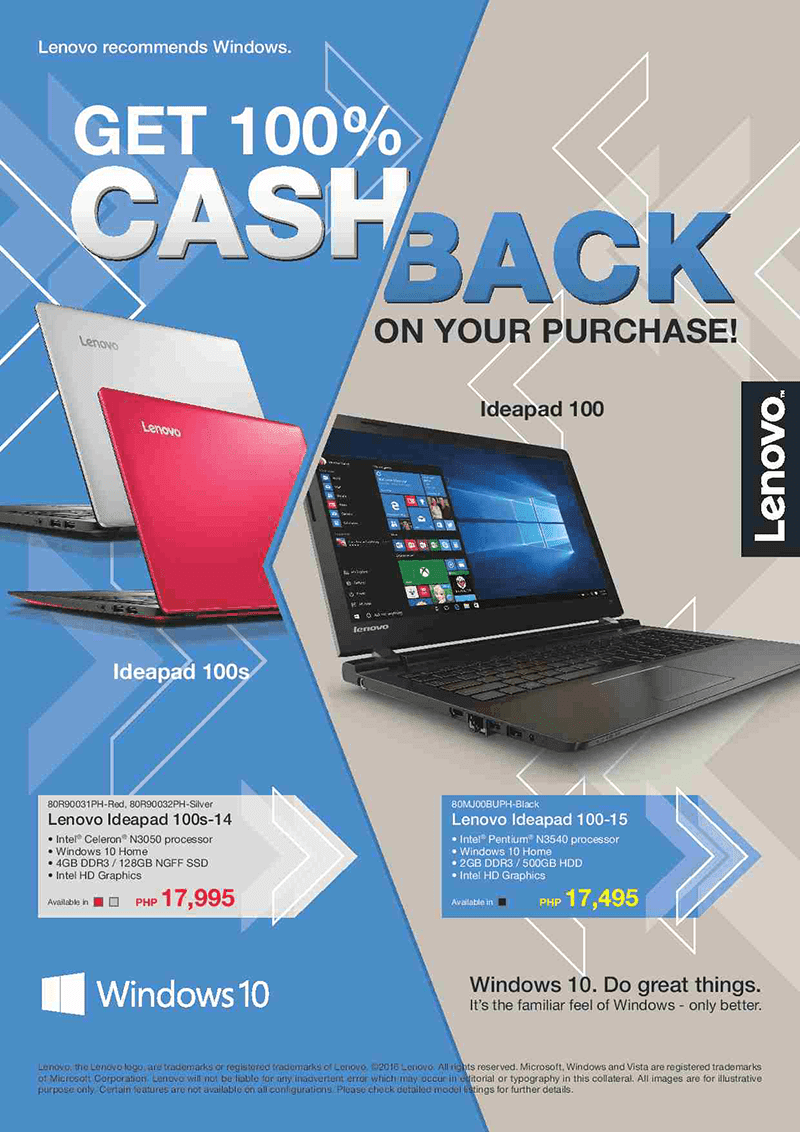 Lenovo cash back promo and ADP program