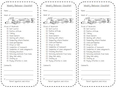 Ginger Snaps Weekly Behavior Checklist - weekly checklist