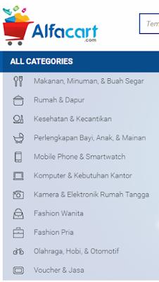 Jenis kategori produk dan jasa yang ditawarkan Alfacart