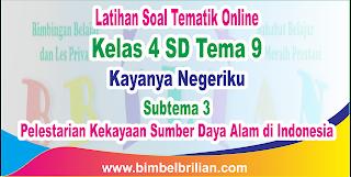 Soal Tematik Online Kelas 4 SD Tema 9 Subtema 3 Pelestarian Kekayaan Sumber Daya Alam di Indonesia Langsung Ada Nilainya
