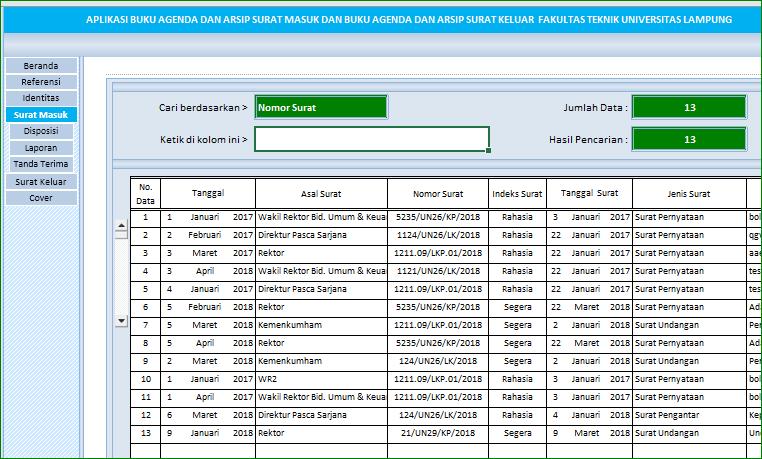 Aplikasi Excel Agenda Dan Arsip Surat Versi 2 Excelmaniacs