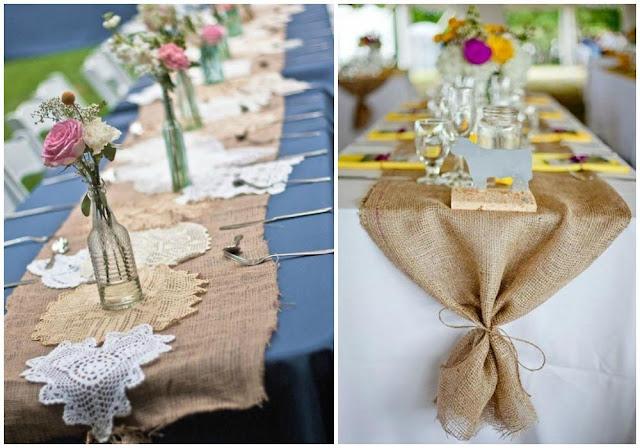 Camino de mesa hecho con tela de saco
