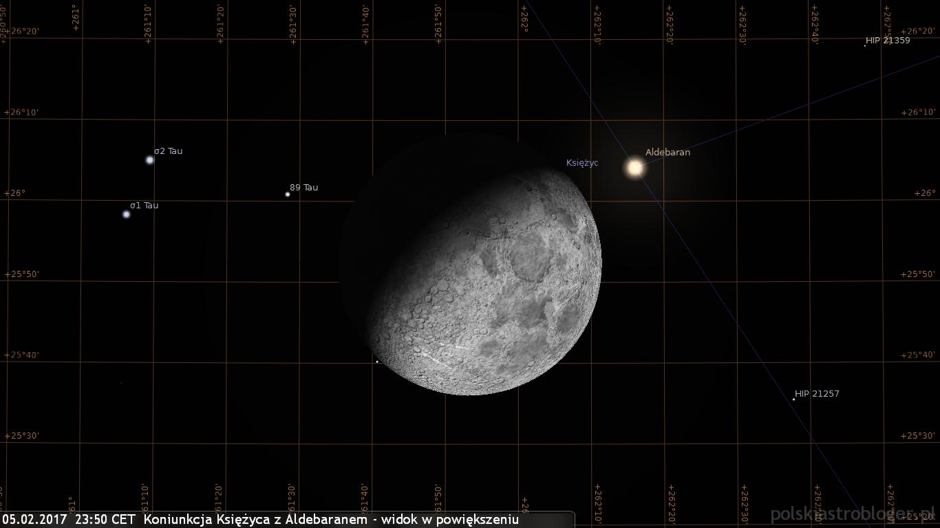05.02.2017  23:50 CET  Koniunkcja Księżyca z Aldebaranem - widok w powiększeniu