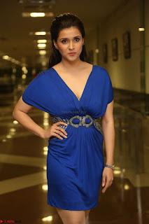 Mannara Chopra in Short Blue Dress at Rogue Movie Teaser Launch 1st March 2017 054.JPG