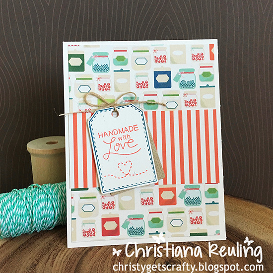 Handmade with Love card by Christiana Reuling | Tag Sampler Stamp set by Newton's Nook Designs #newtonsnook