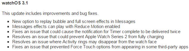 watchOS 3.1 Features