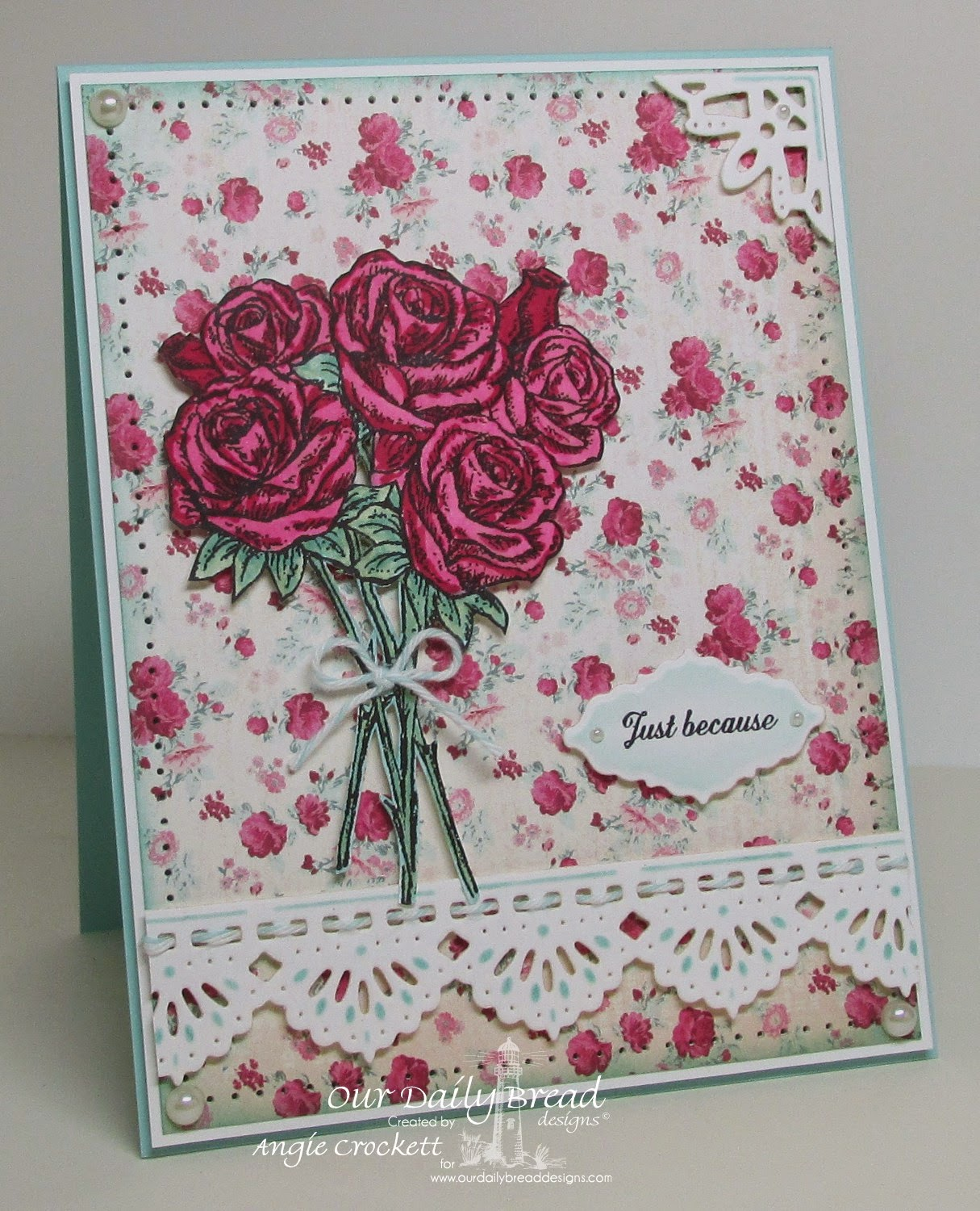 ODBD Rose Bouquet, Ornate Border Sentiments, ODBD Custom Ornate Borders and Flowers Dies, ODBD Custom Beautiful Borders Dies, Card Designer Angie Crockett