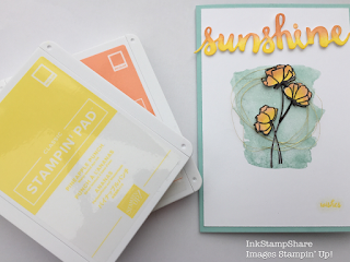 Sunshine Wishes card. Inspire Create Stamping Challenge 18 .Grapefruit Grove ink pad. Pineapple Punch ink pad.
