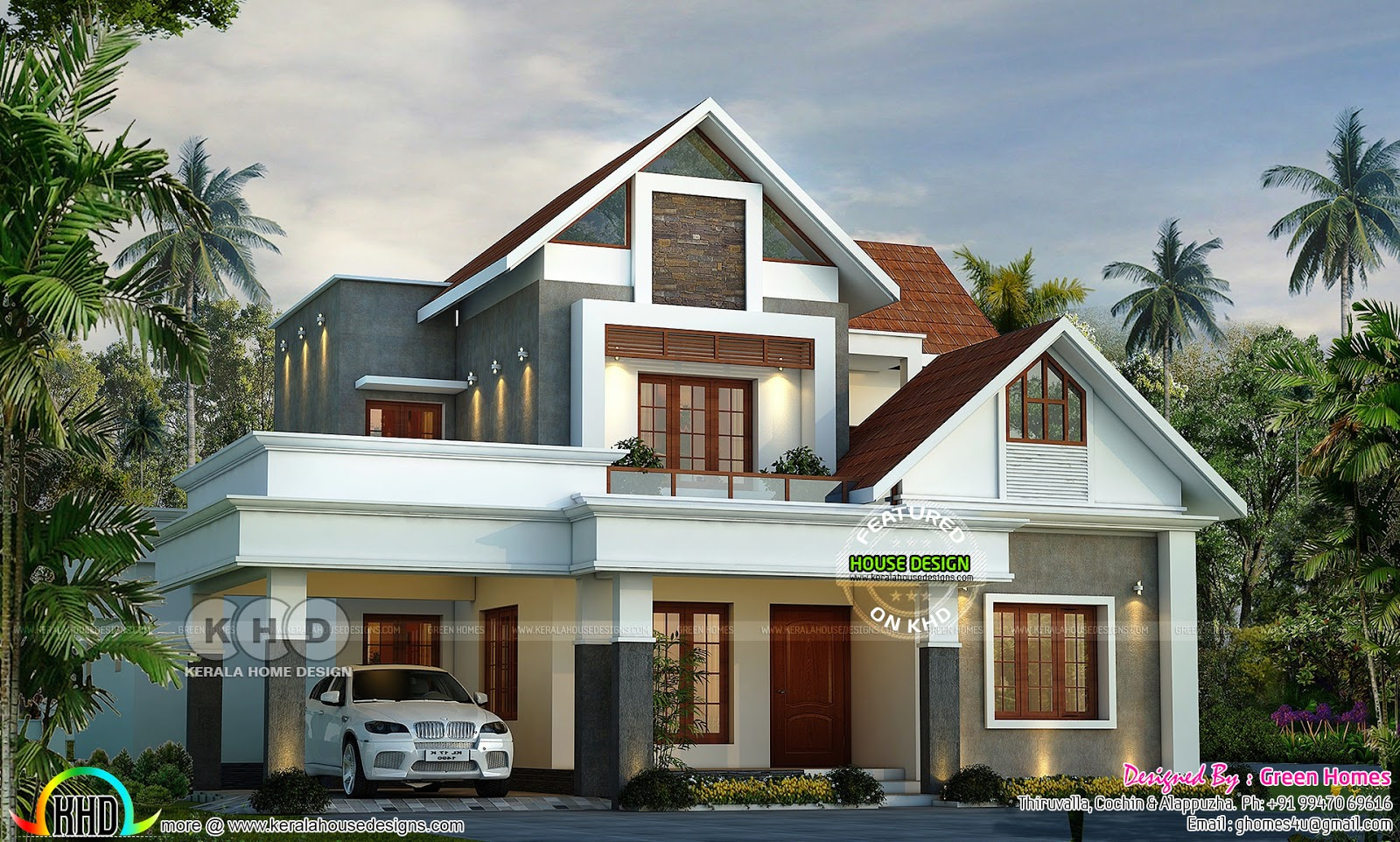 Beautiful modern style mix roof home 2800 sq ft kerala for Square feet ap style