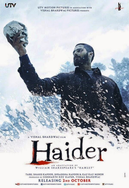 Haider, Movie Poster, Directed by Vishal Bhardwaj, starring Tabu, Shahid Kapoor, Kay Kay Menon, Shraddha Kapoor, and Irrfan Khan