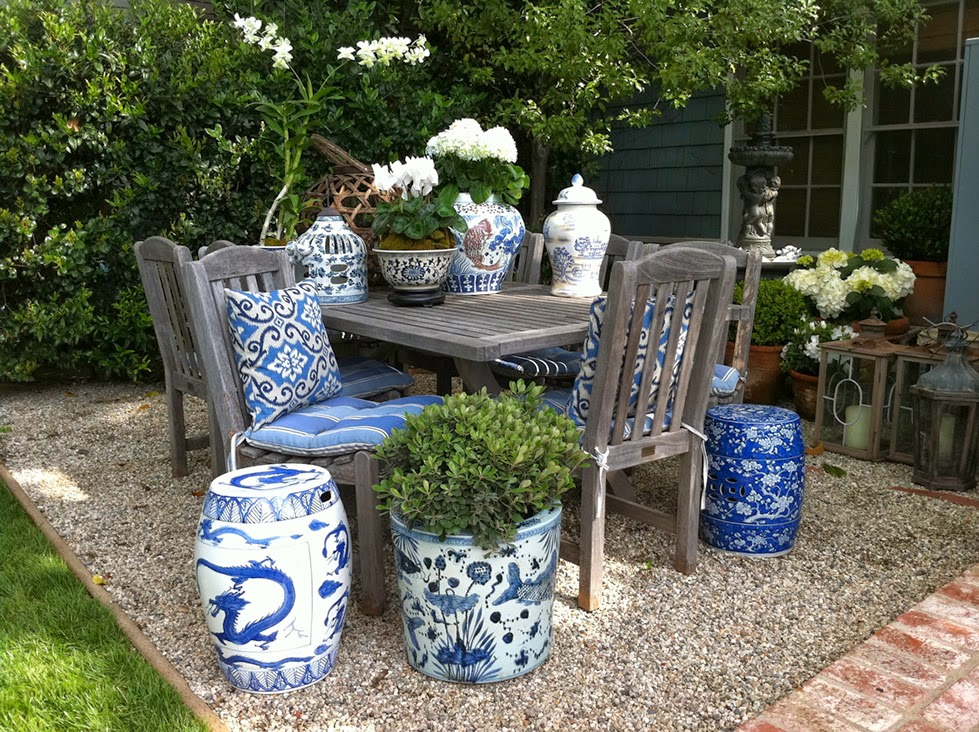 The Glam Pad Decorating With Blue And White Outdoors