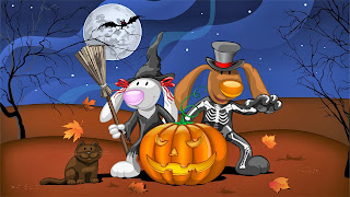 Funny Animals Happy Halloween Wallpaper