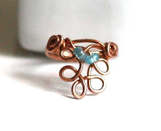 Copper Lacy Circles Ring
