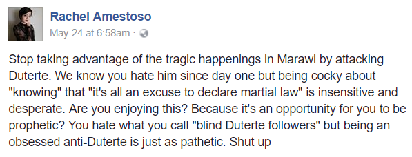 'Stop taking advantage of the Marawi siege by attacking Duterte' —UP alumnus to anti-Duterte people