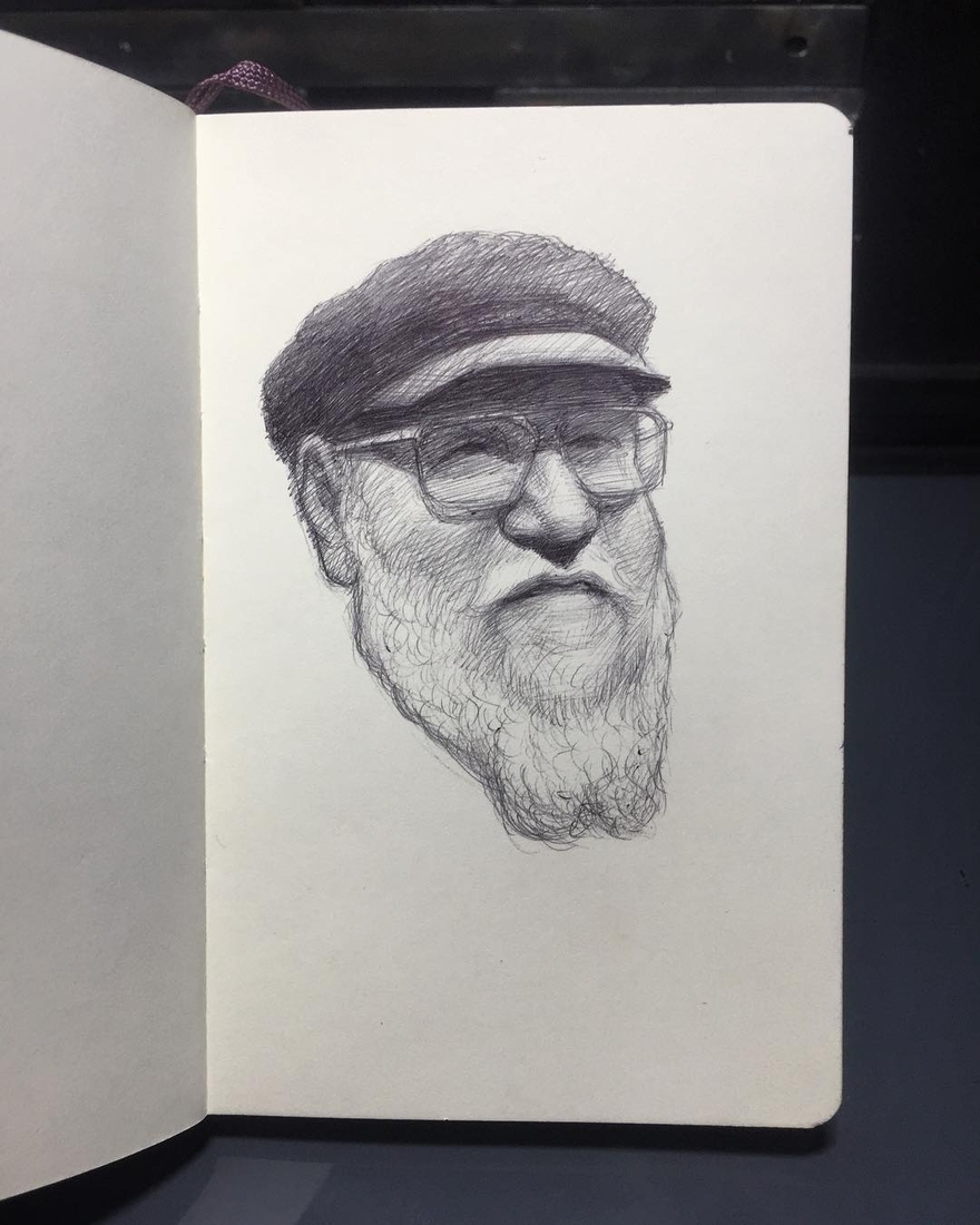 06-George-R-R-Martin-Game-of-Thrones-Arthur-Gains-Moleskine-Sketches-of-Celebrities-and-other-Portraits-www-designstack-co