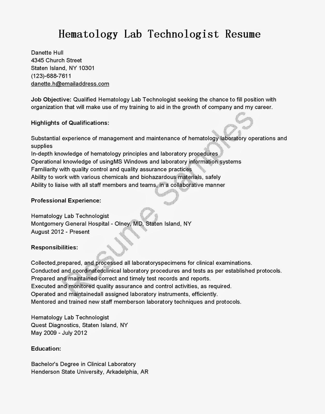 resume samples  hematology lab technologist resume sample