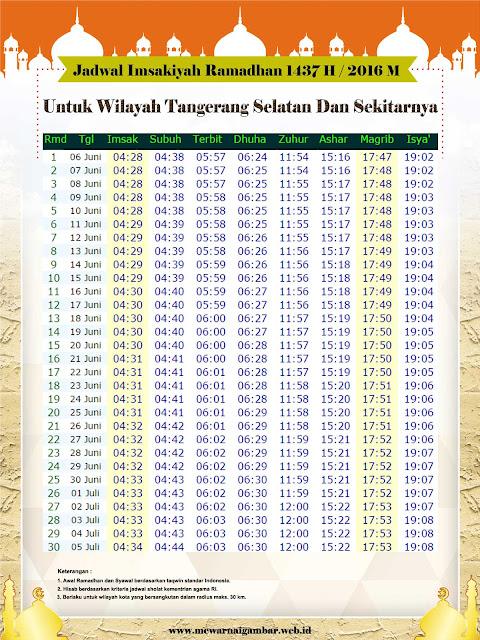 Jadwal Imsakiyah Tangerang Selatan 1437 H 2016 M