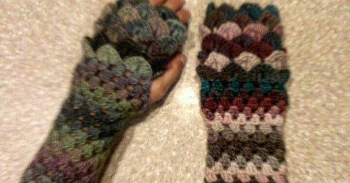 Londies Handmade Crochet Dragon Scale Fingerless Gloves