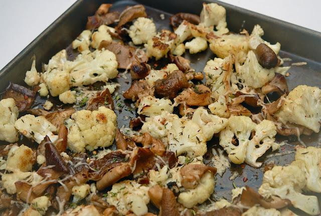 Roasted mushrooms and cauliflower