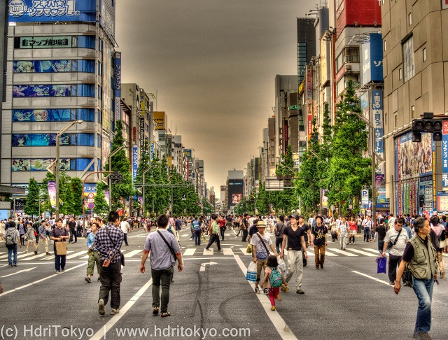 many people walk on the main street of Akihabara electric town in a car free day.