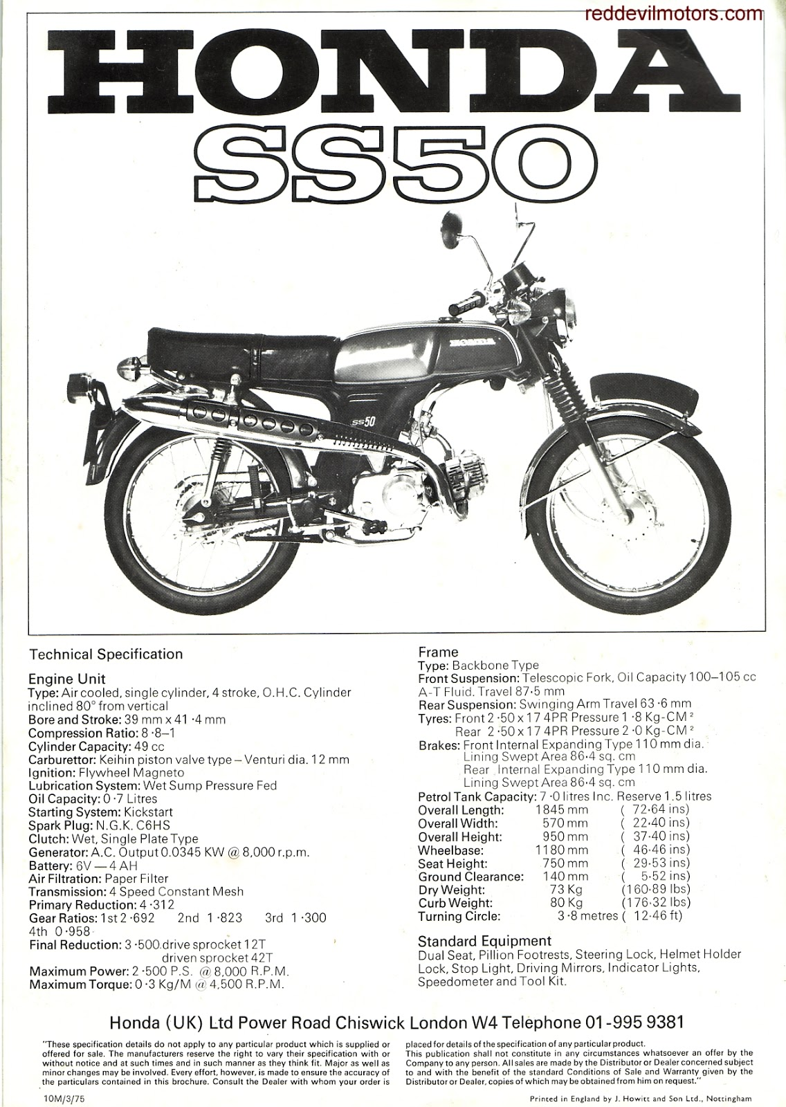 red devil motors  honda ss50 1975