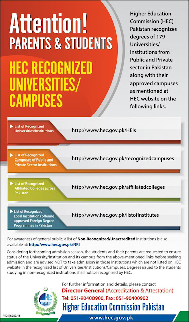 HEC Recognized Universities and Degree Awarding Institutions