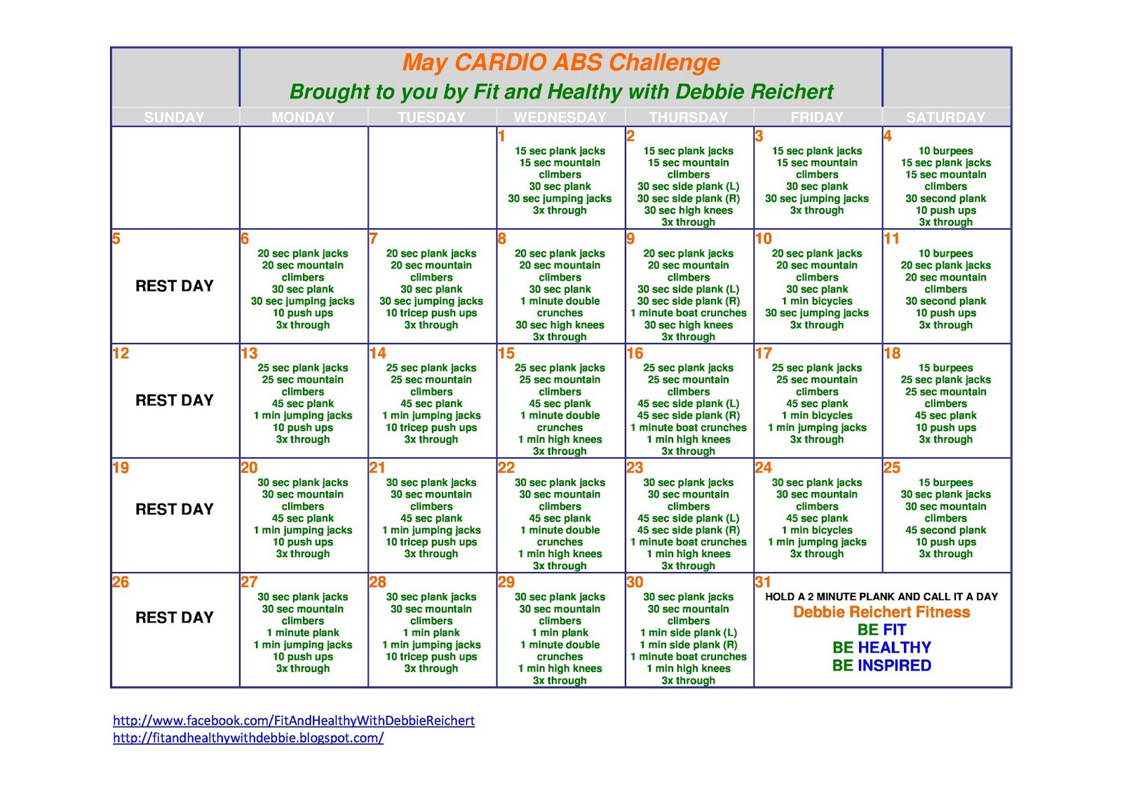 may s cardio abs challenge fit and healthy with debbie