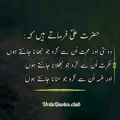 Hazrat Ali farmatye hein k dosti aur mohabat unsy karo jo nibhana jantye hun nafrat unsay karo jo bhulana jantye hun aur gusa un sy karo jo manan jantye hun..