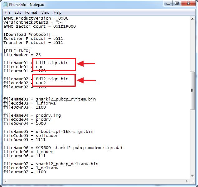 phone info untuk mengetahui posisi partisi file firmware yang akan dijadikan pac