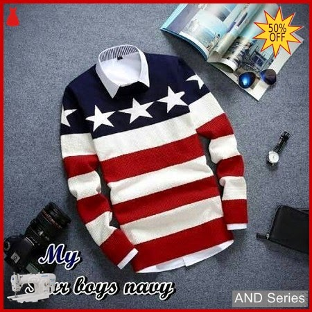 AND290 Sweater Pria Rajut Putih Star Biru BMGShop