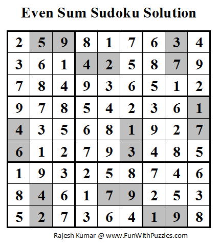 Even Sum Sudoku (Daily Sudoku League #56) Solution