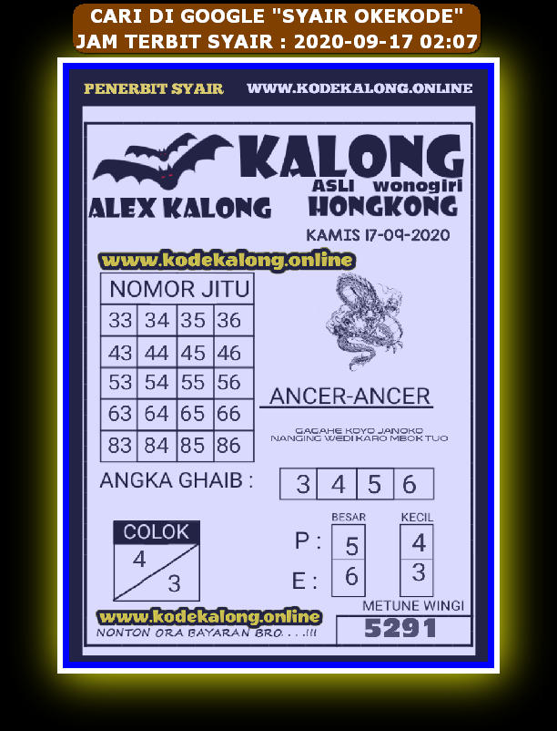Kode syair Hongkong Kamis 17 September 2020 161