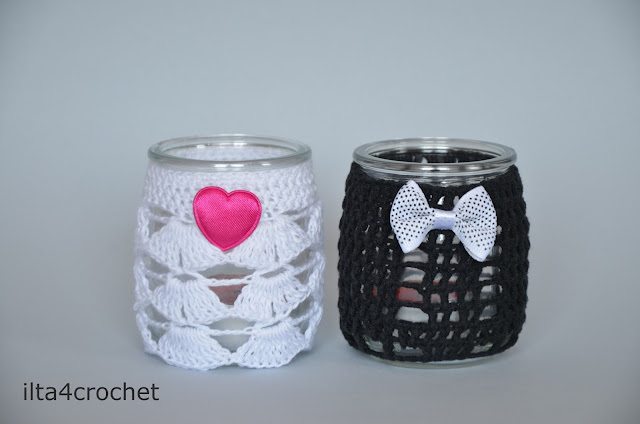szydełko świecznik, prezent na ślub, ręcznie robiony